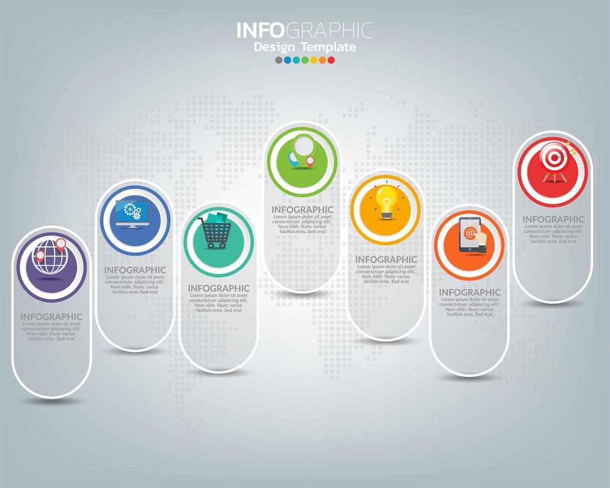 Infografik-Vorlage mit digitalen Marketing-Symbolen vektor