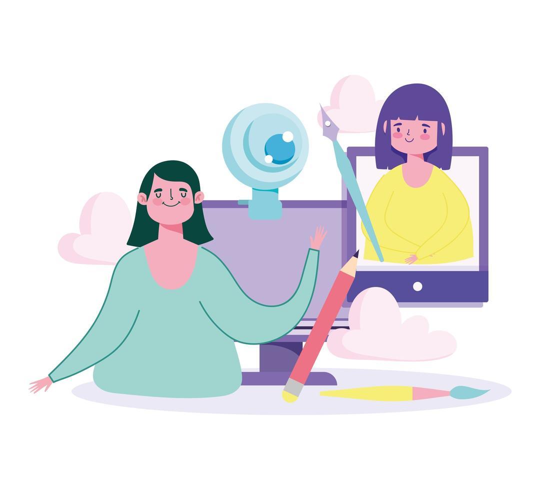 online utbildningskoncept med lärare och student vektor