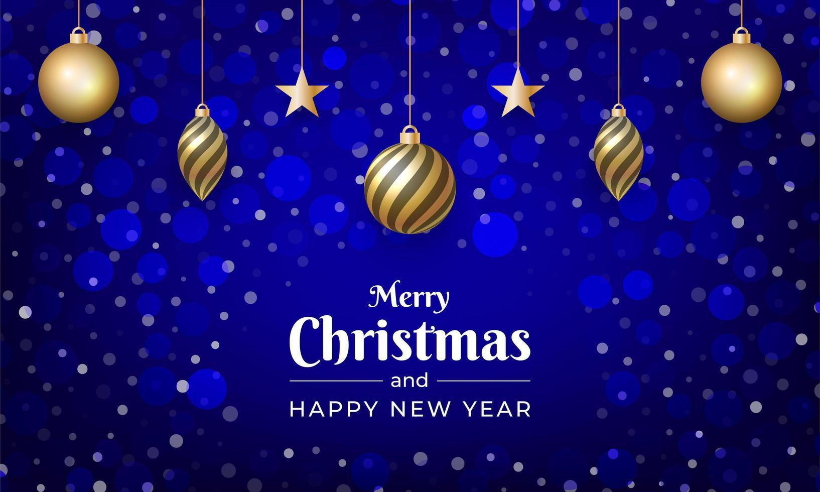 god jul med blå färg och snöeffekt vektor