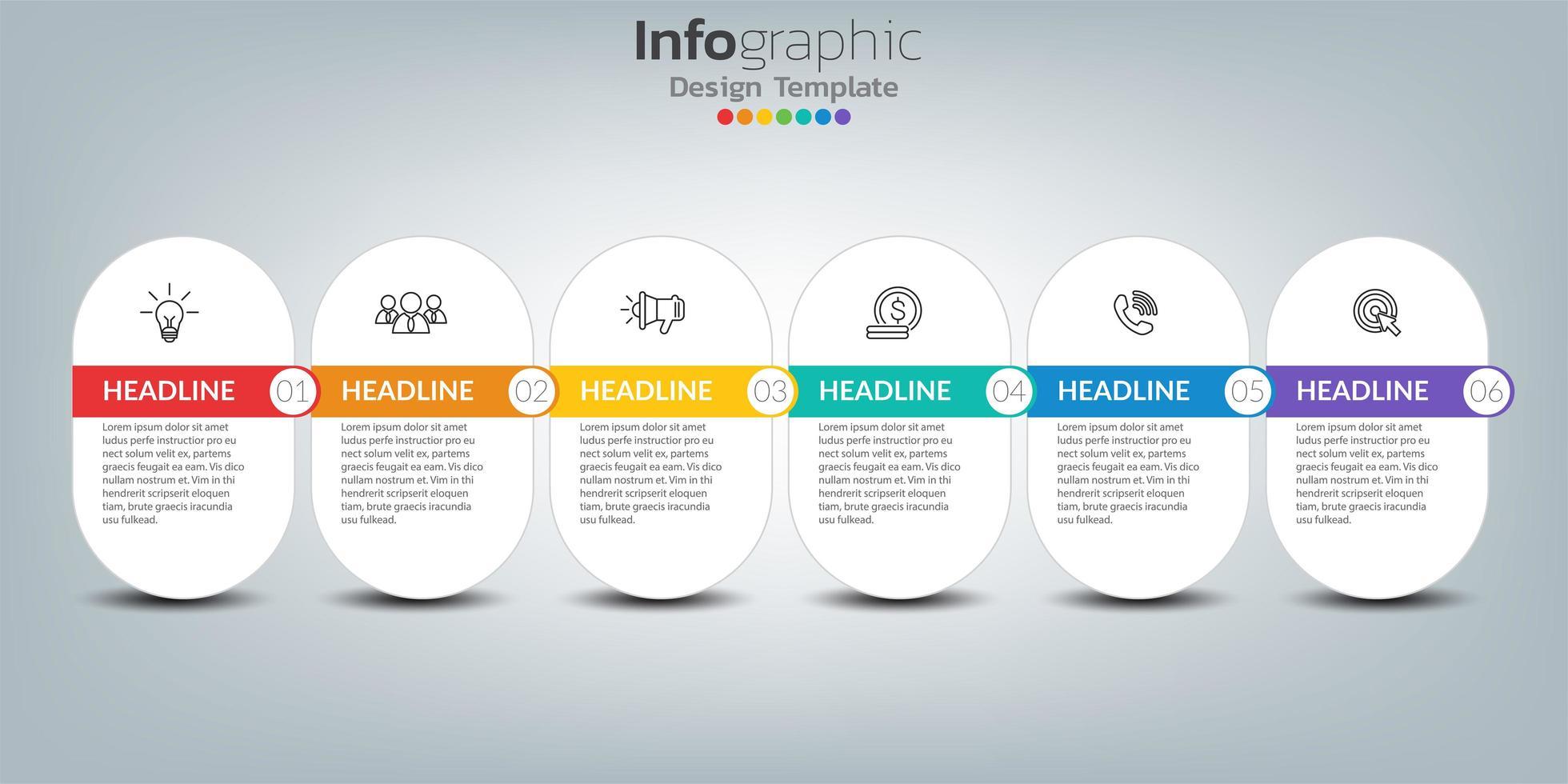 tidslinje infografisk mall med ikoner i framgångskoncept vektor