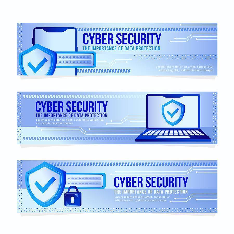 cybersäkerhet uppsättning banners vektor