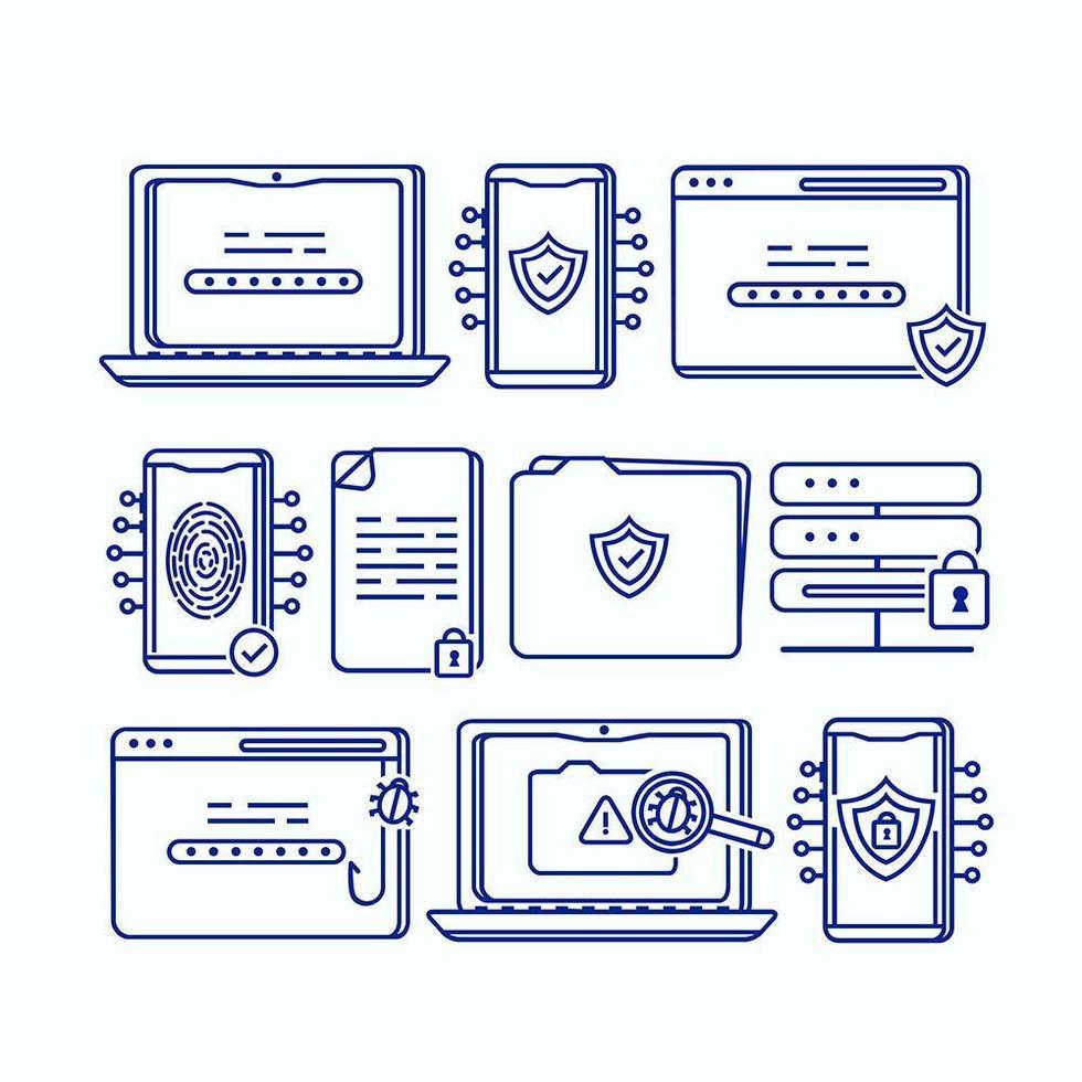 cybersäkerhetsuppsättning vektor
