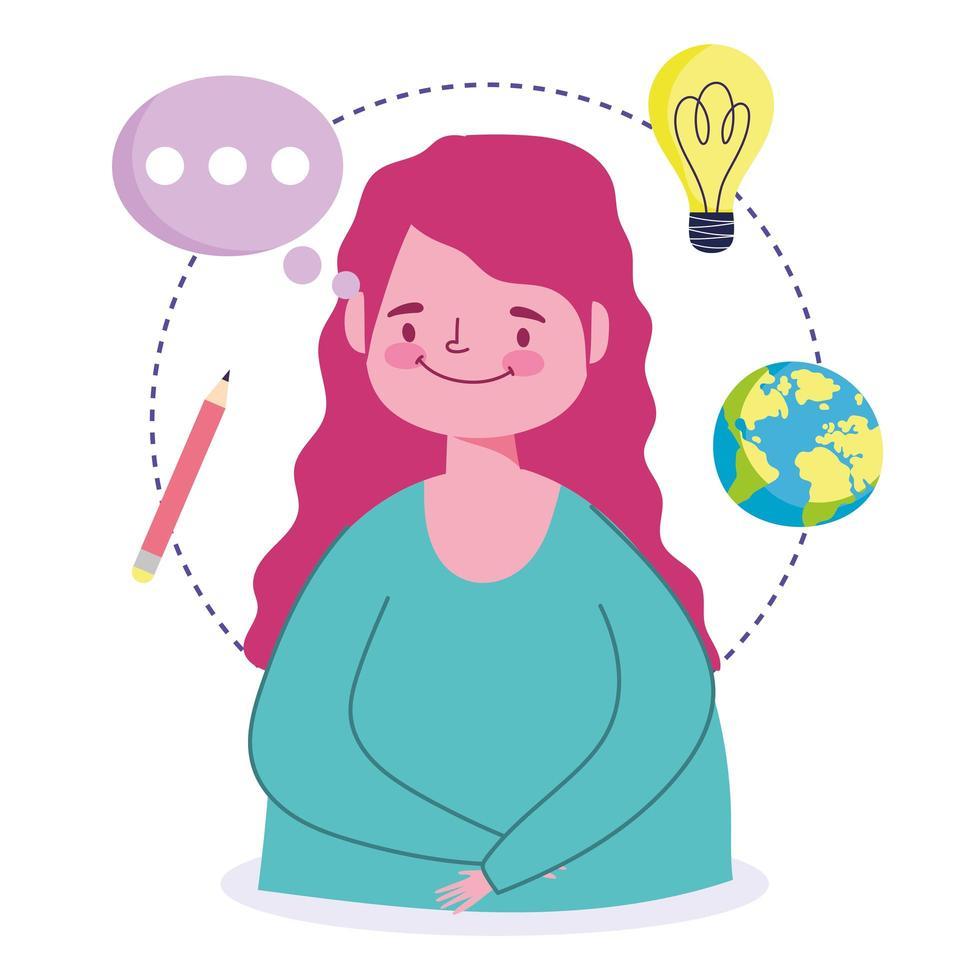 online-utbildningskoncept med tjej- och skolikoner vektor