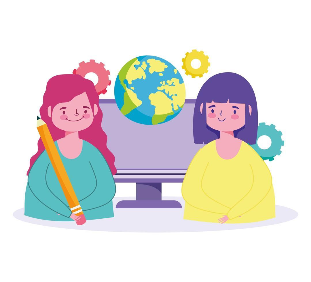 online-utbildningskoncept med studentflickor vektor