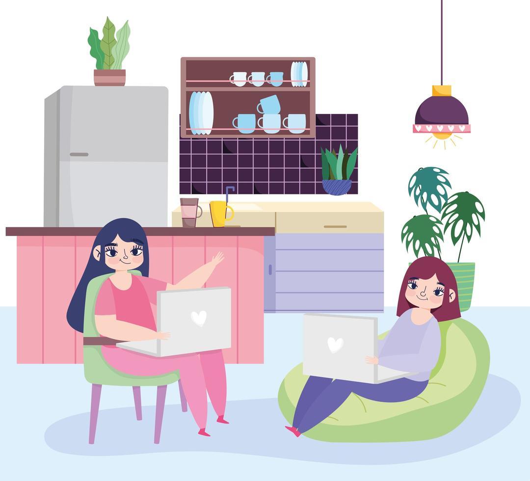 unga kvinnor med sina bärbara datorer inomhus vektor