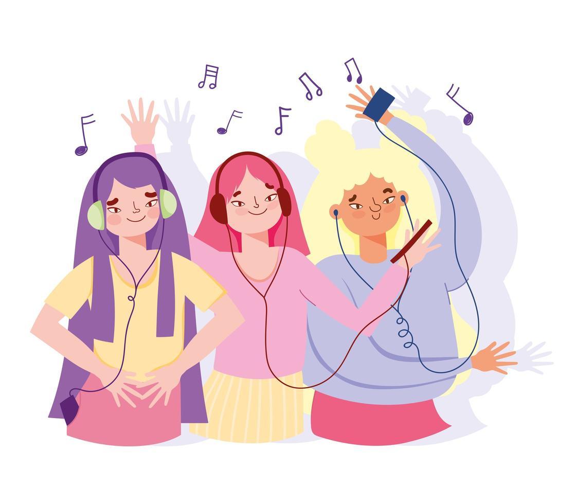 glada tjejer som lyssnar på musik vektor