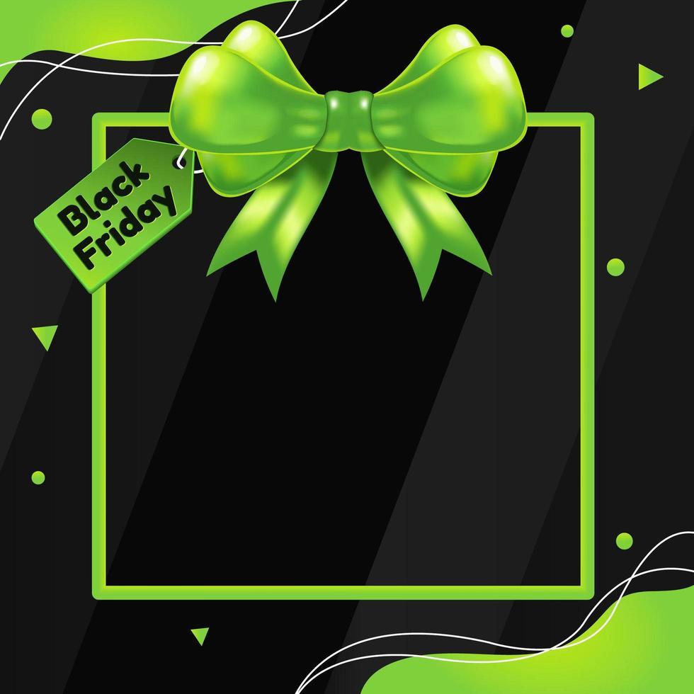 svart fredag bakgrund med grönt band vektor