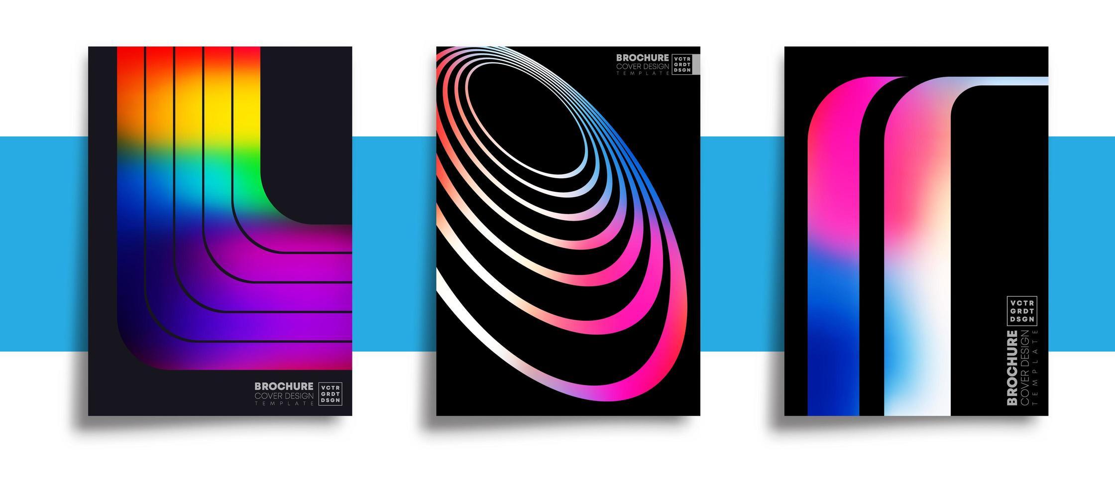 uppsättning abstrakta flerfärgade designaffischer vektor
