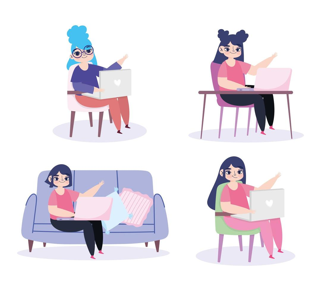 uppsättning unga kvinnor som arbetar hemifrån vektor
