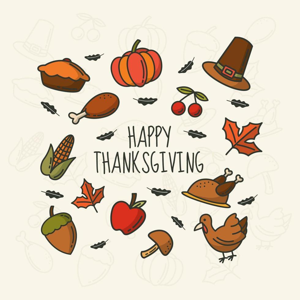 Thanksgiving monoline handritade ikoner vektor