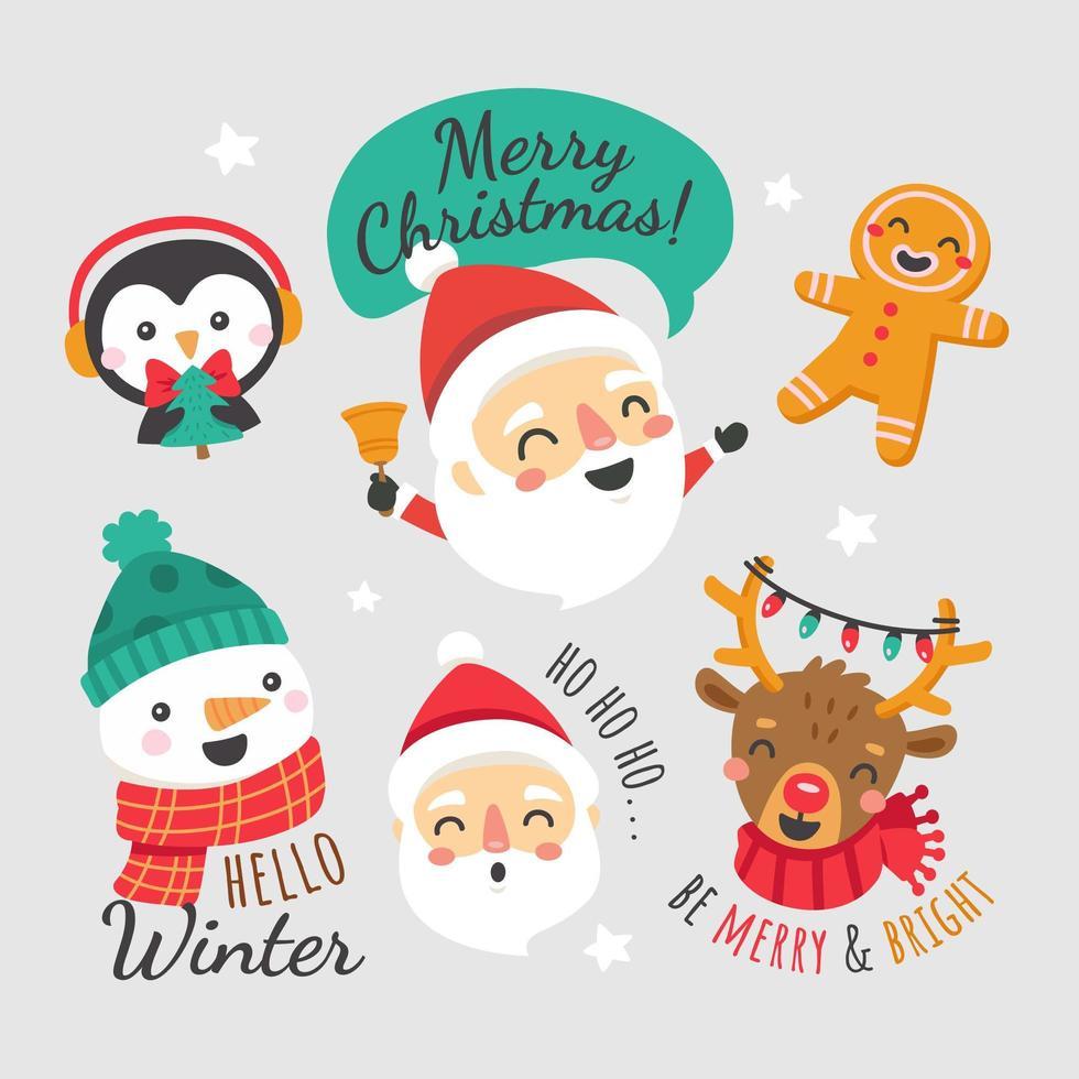 süße Weihnachtsmann und Freunde Sammlung vektor