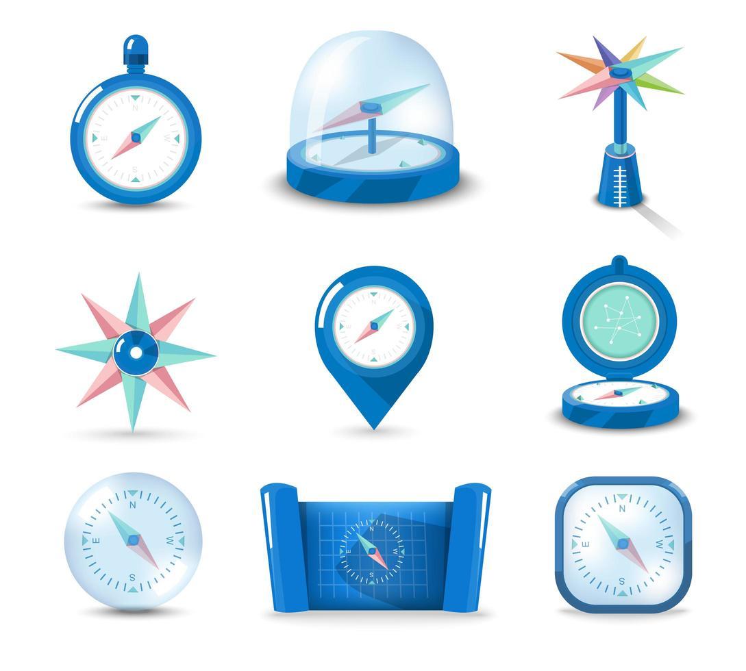 uppsättning ikon kompass vektor