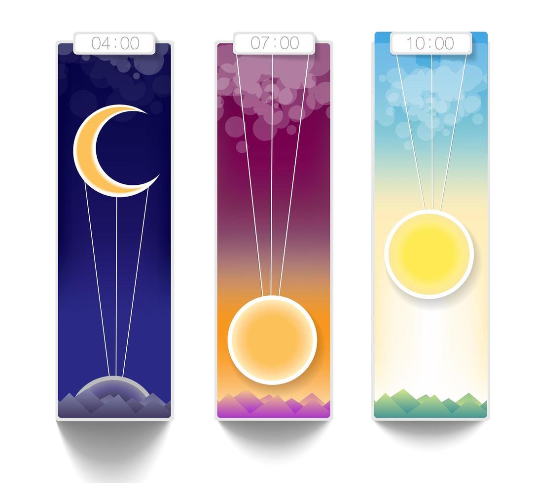 solnedgång och soluppgång vektor