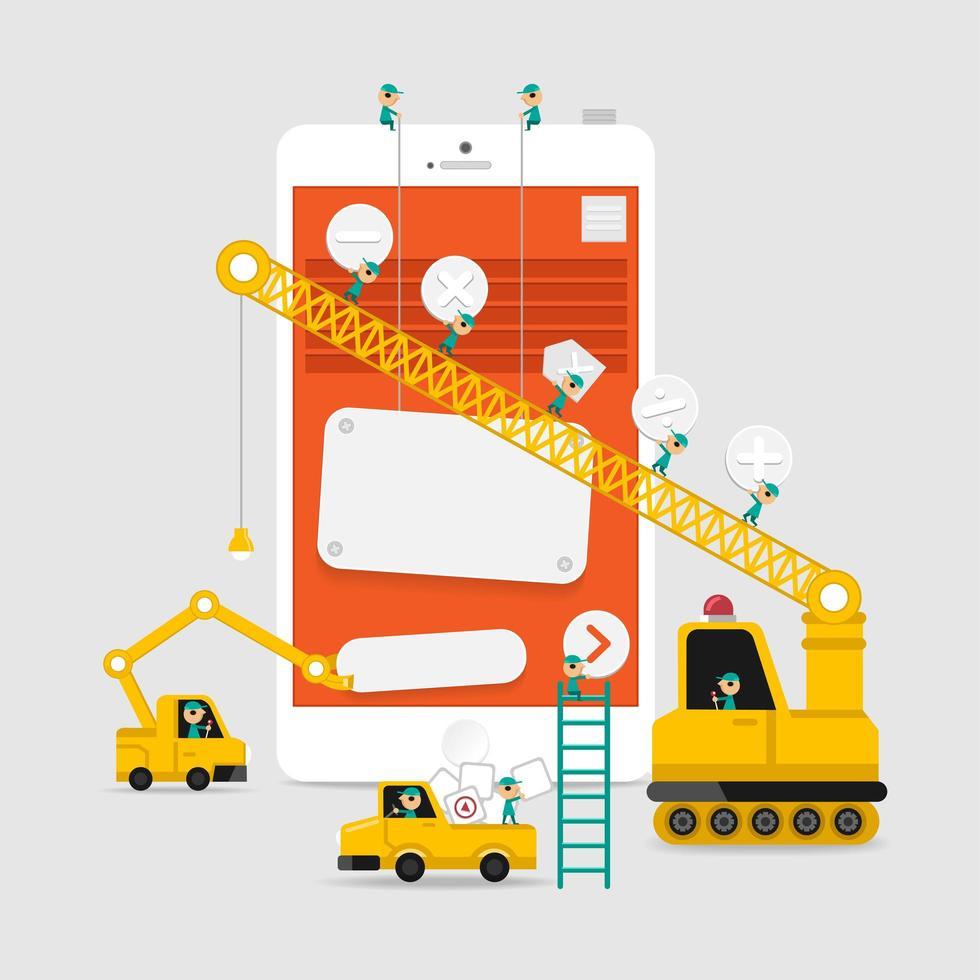 applikationsvisning byggnadsutveckling vektor