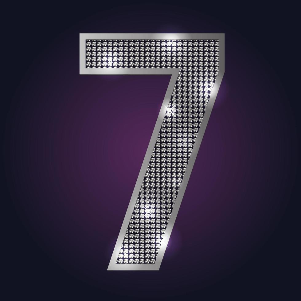 nummer 7 blinkar vektor