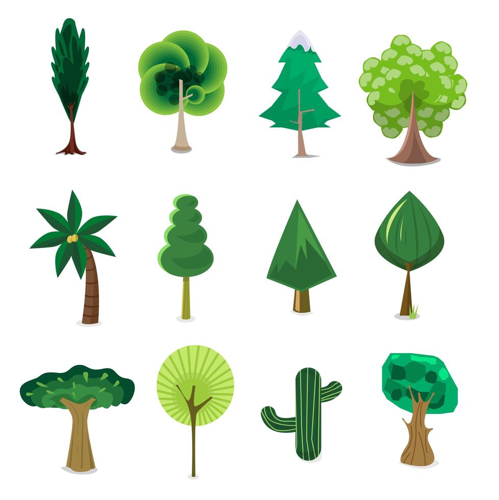 uppsättning träd tecknad vektor