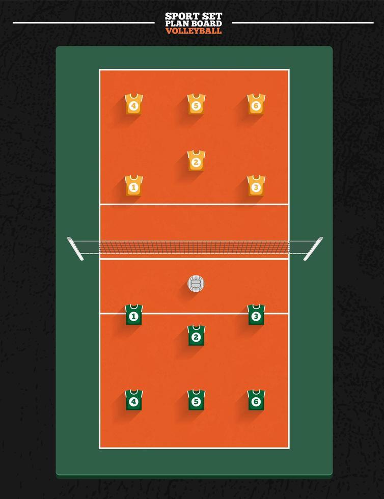 volleybollplan med spelarposition vektor