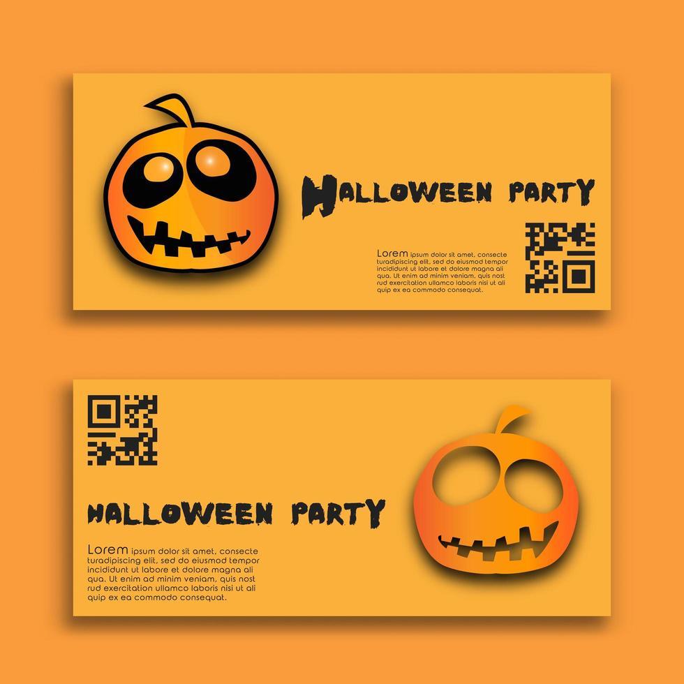 halloween fest banners med orange pumpor set vektor