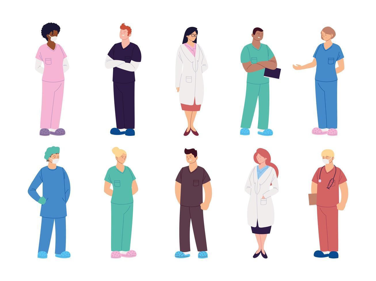 uppsättning vårdpersonal läkare och sjuksköterskor vektor