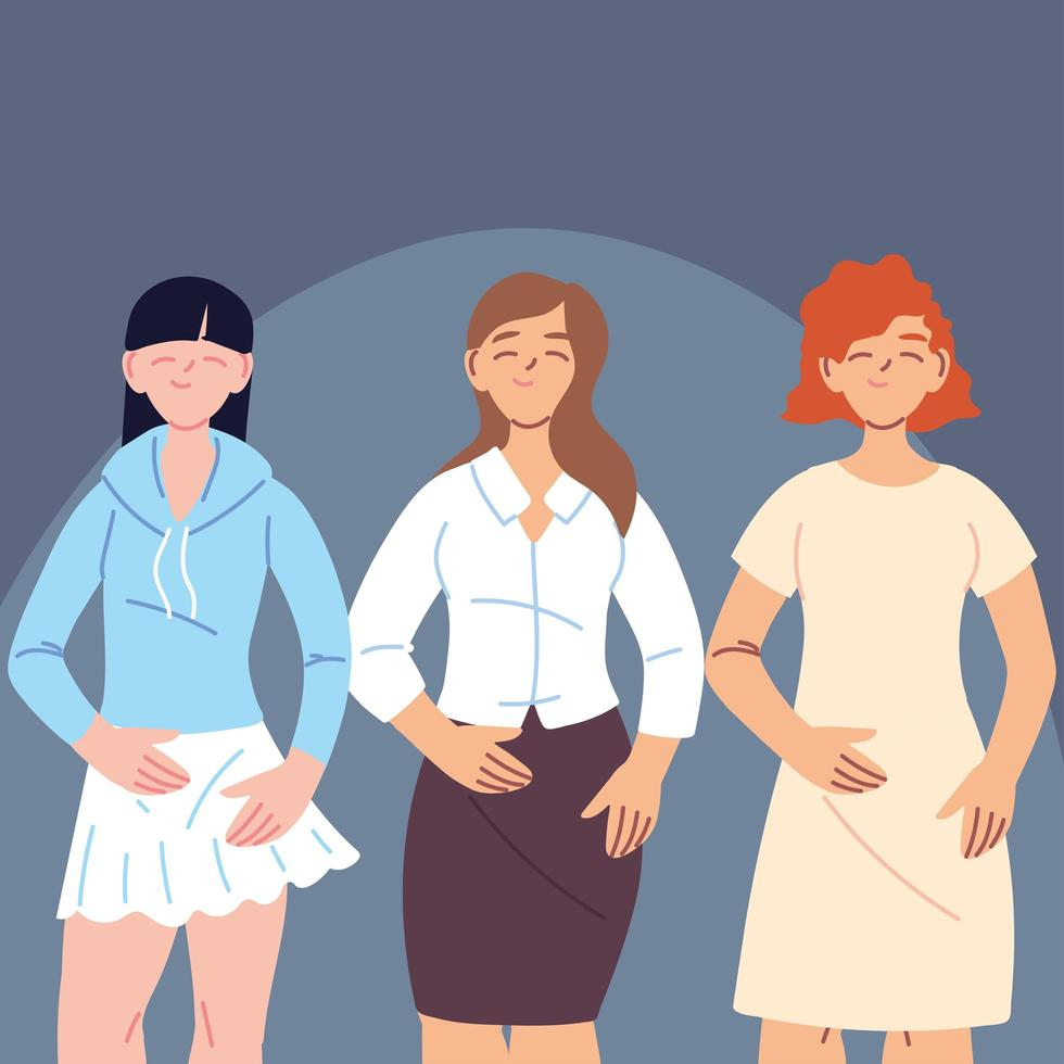 olika kvinnor i avslappnade kläder vektor