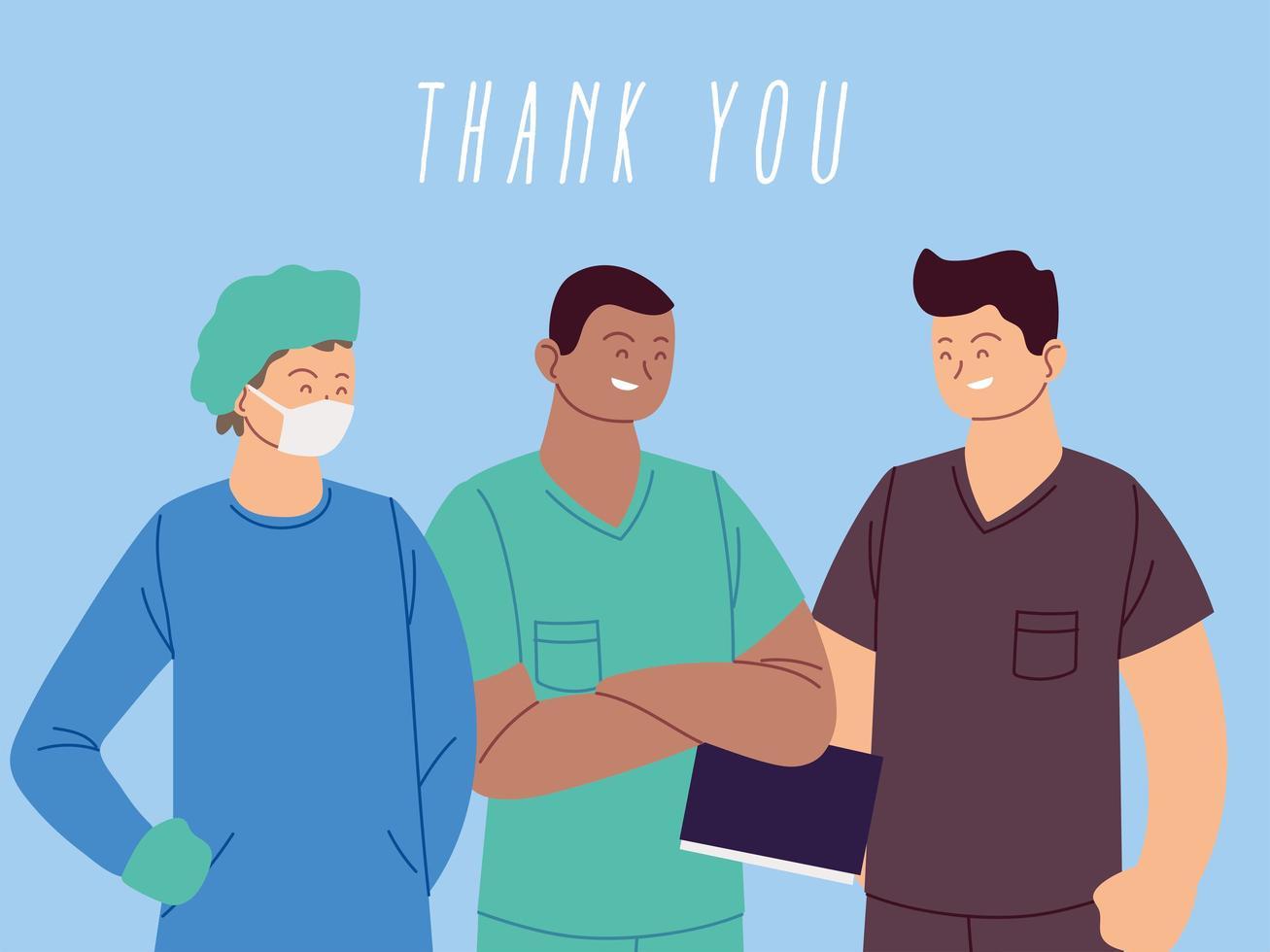Vielen Dank, dass Sie Ärzte und Krankenschwestern begrüßen vektor
