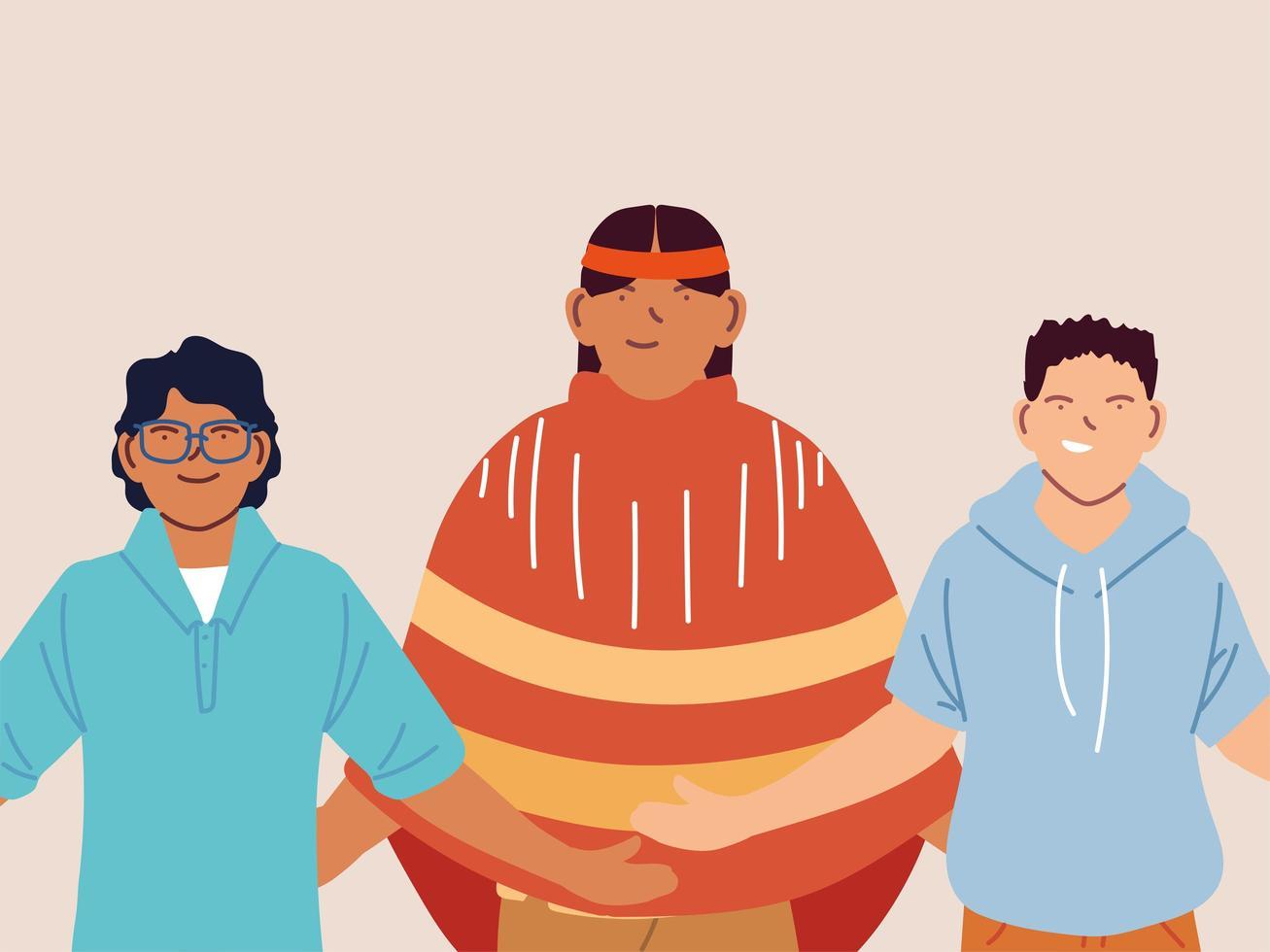 multiethnische Gruppe von Männern, die zusammen stehen vektor