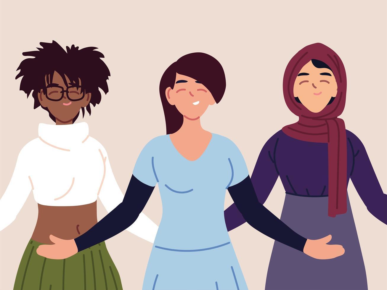porträtt av multietniska kvinnor tillsammans vektor