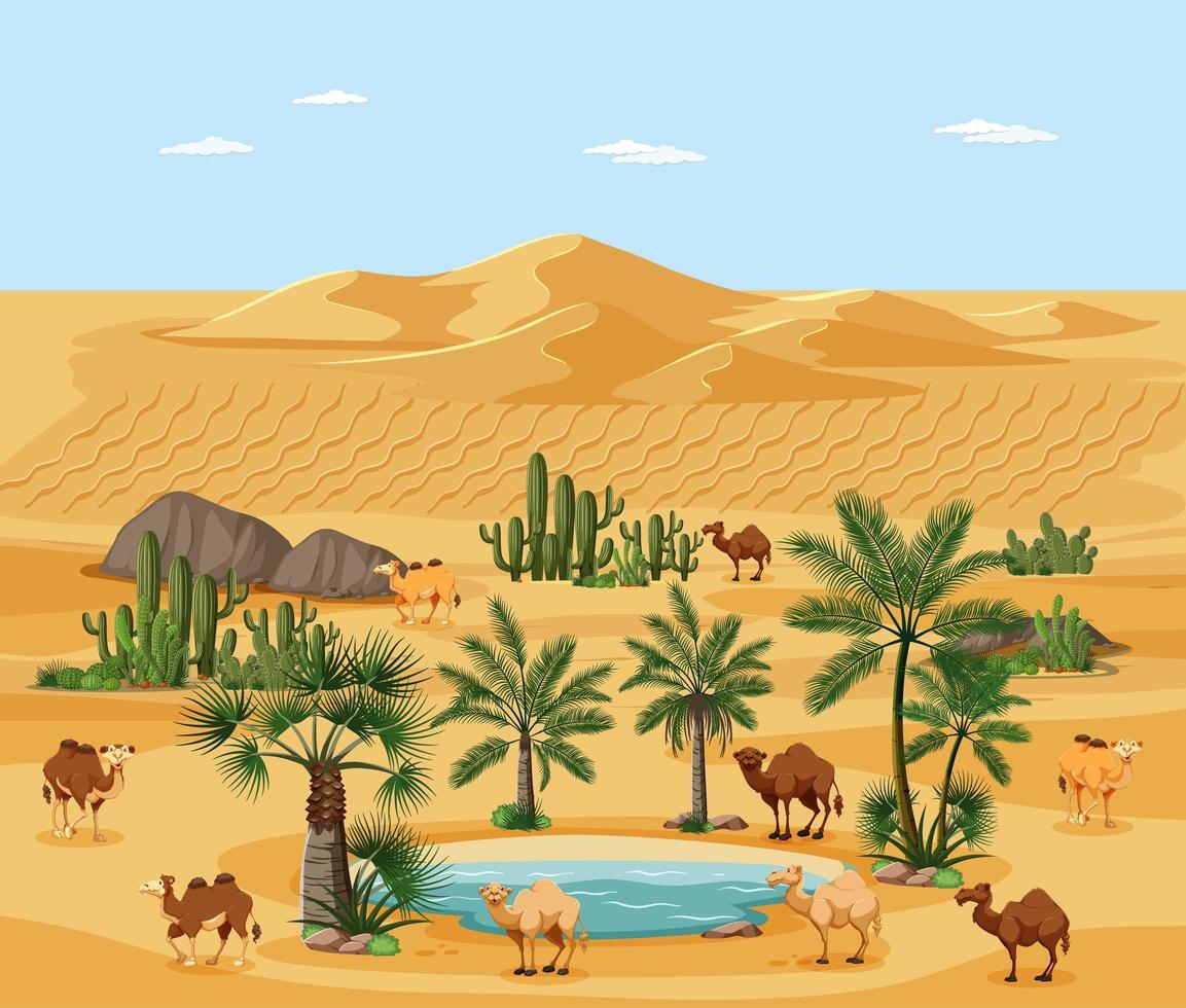 Wüstenoase mit Palmen und Kamelnaturlandschaftsszene vektor