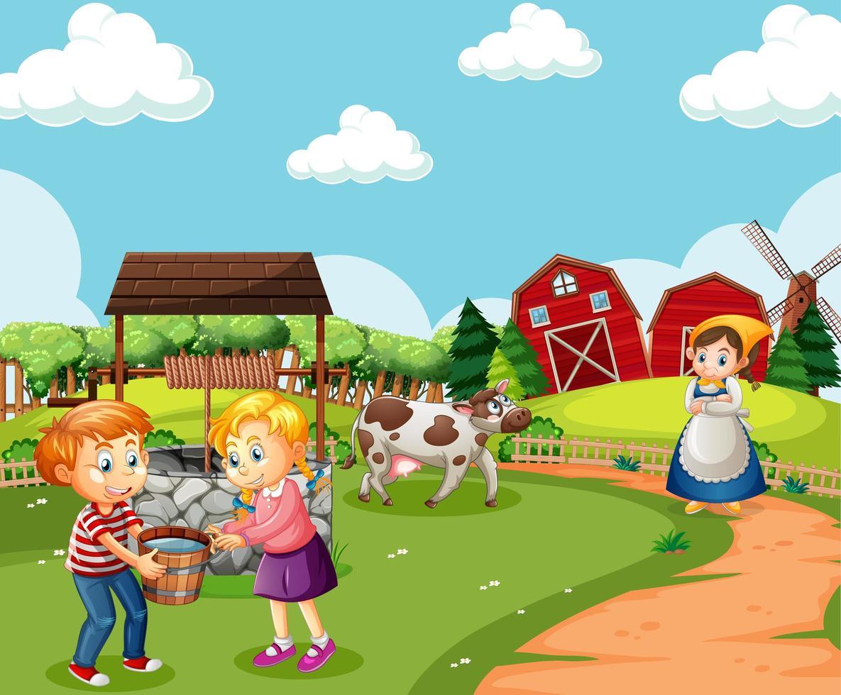 Bauernhof mit roter Scheune und Windmühlenszene vektor