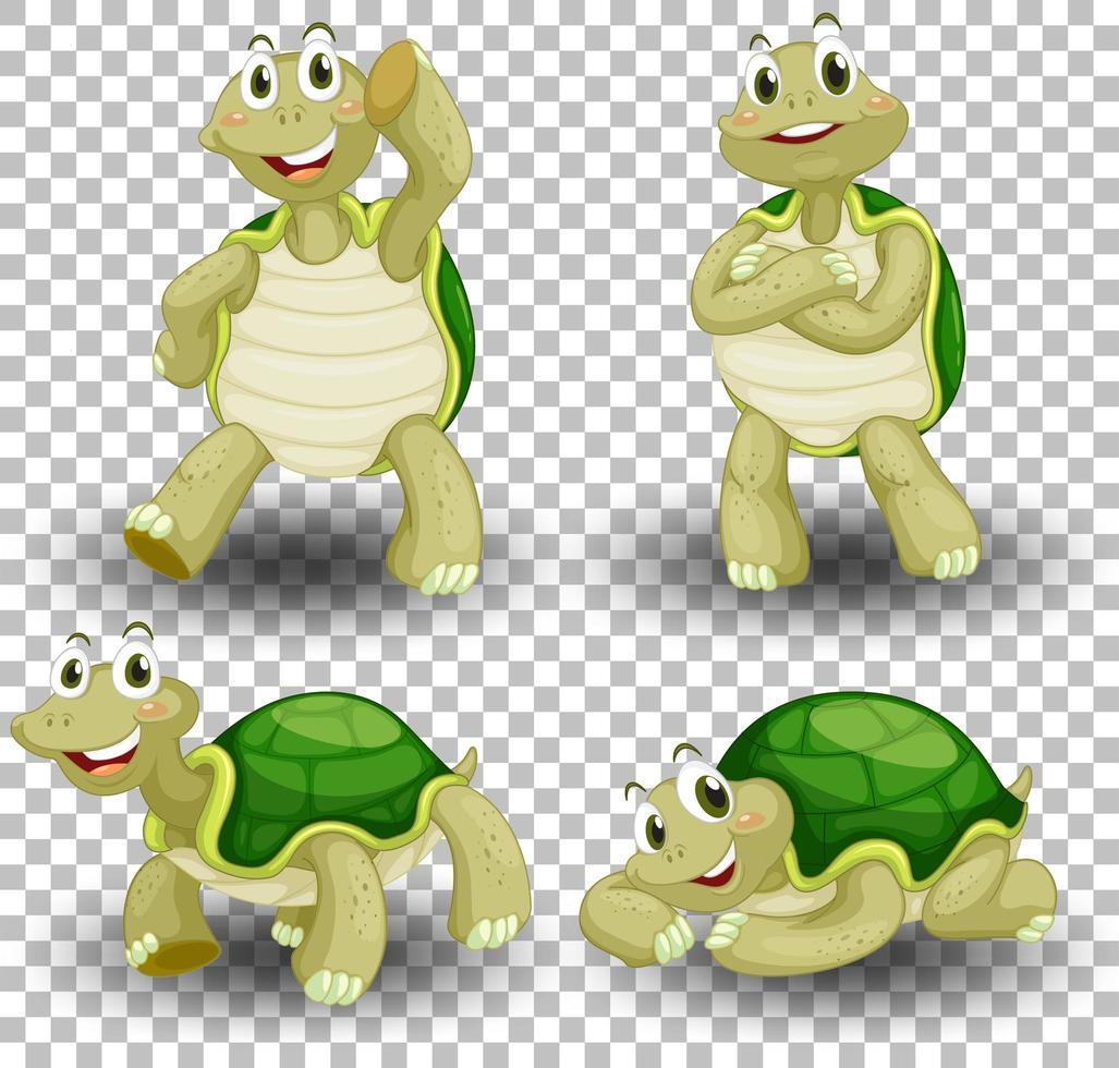 Satz niedliche Schildkröte auf transparentem Hintergrund vektor