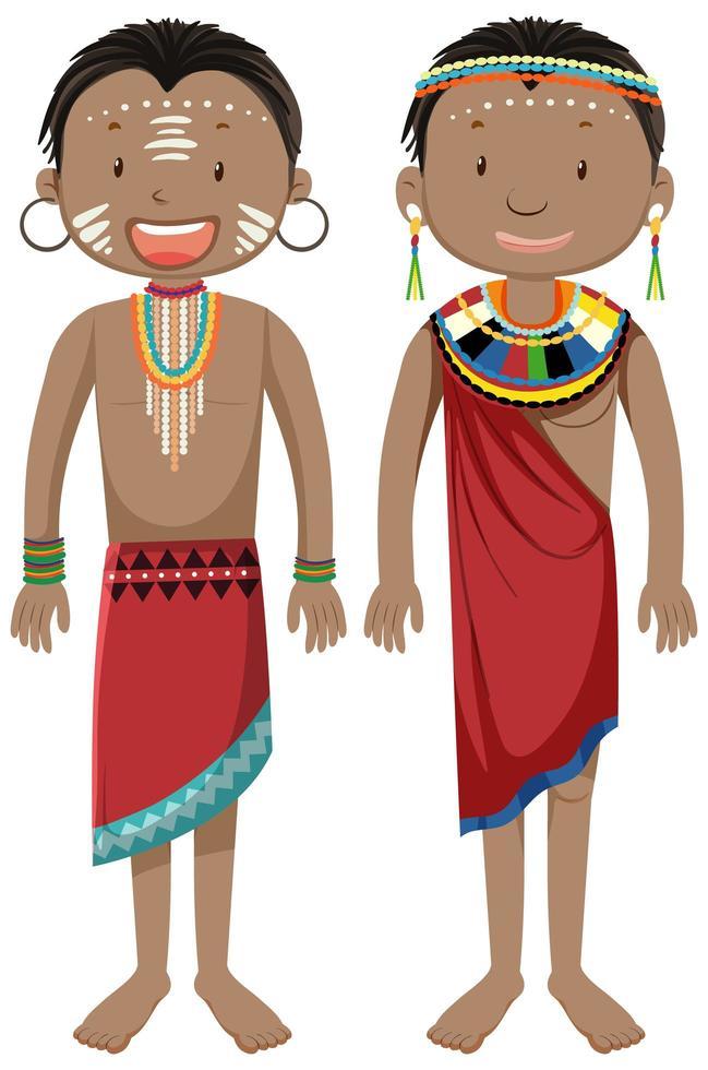 etniska människor i afrikanska stammar i traditionella klädetecknad karaktär vektor