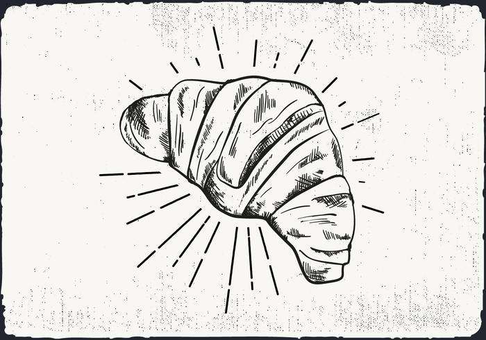 Freie Hand Drawn Croissant Hintergrund vektor