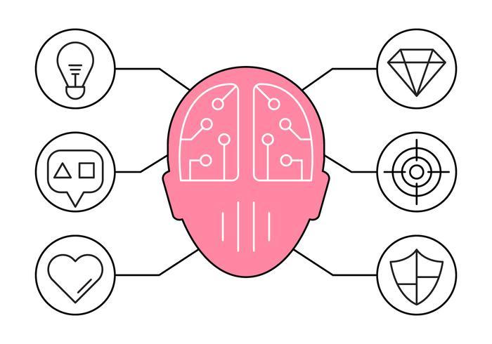 Fri Illustration av brainstorming och Ideas Ikoner vektor