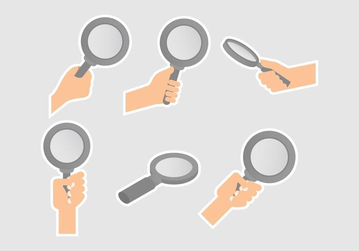 Lupa förstoringsglas vektorer med händerna