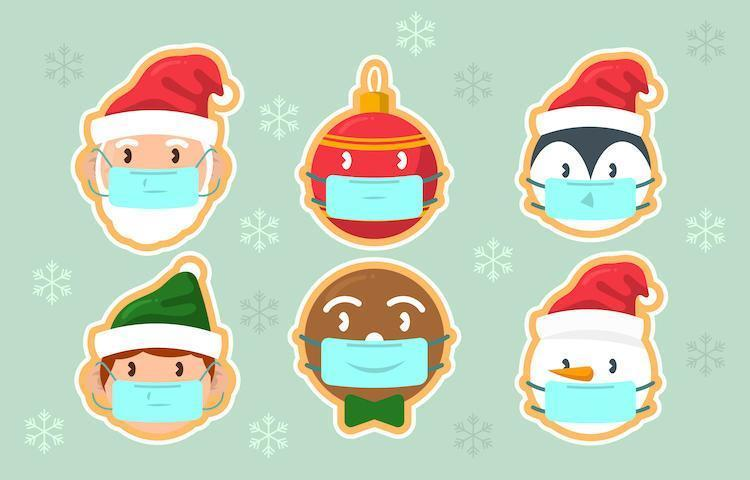 söt färgglad jul karaktär festlighet med protokoll vektor