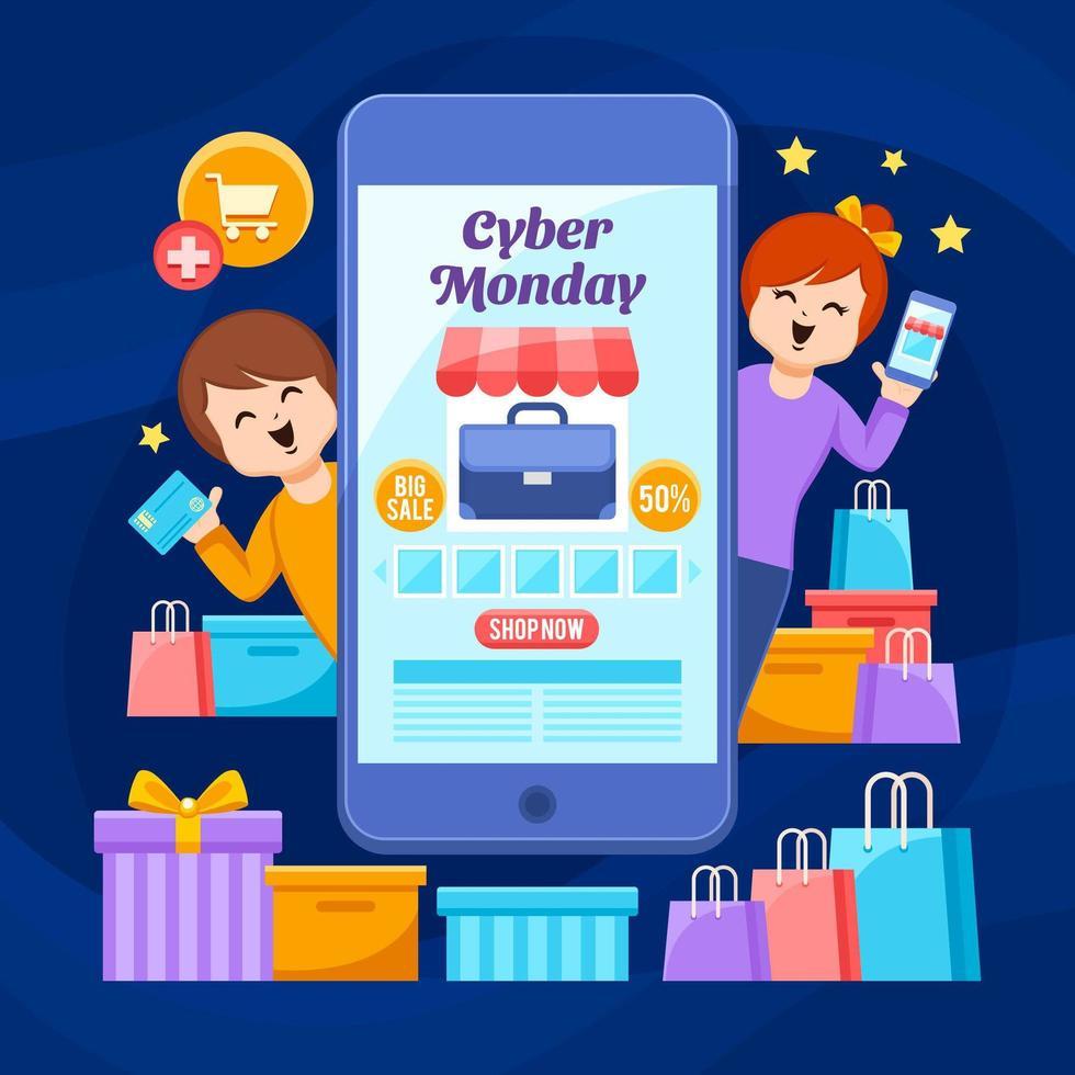freudige kunden kaufen am cyber montag großen verkauf ein vektor
