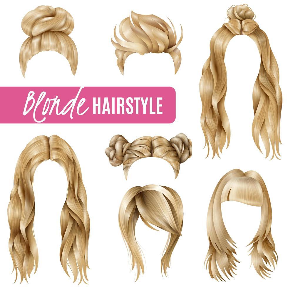 realistische blonde Frisur gesetzt vektor