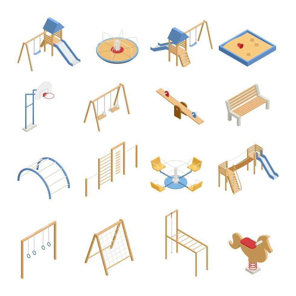 isometrische Kinderspielplatz Icon Set vektor