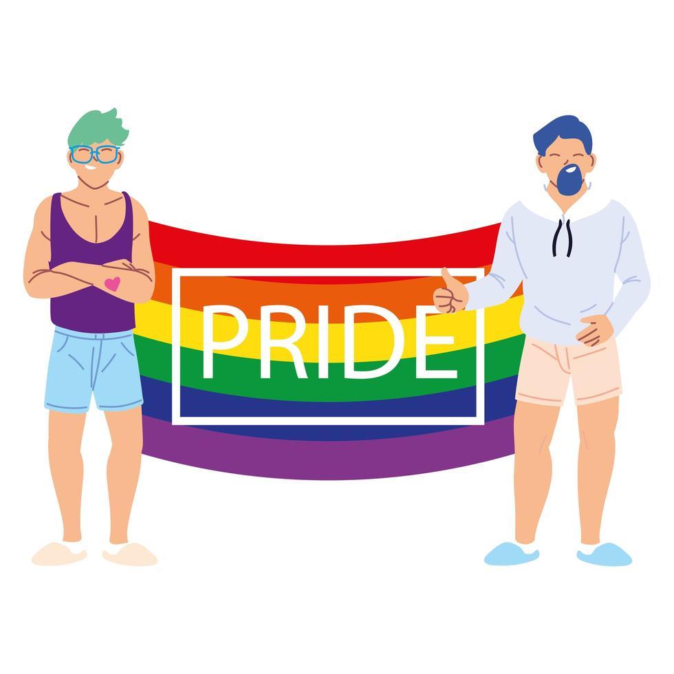 personer med lgbtq pride-flagga, jämlikhet och homosexuella rättigheter vektor