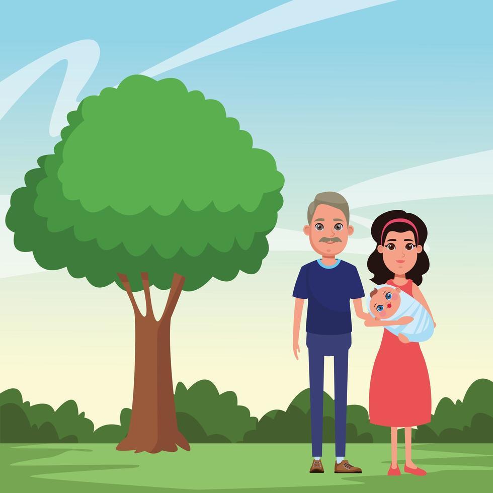 Familienporträt im Freien vektor