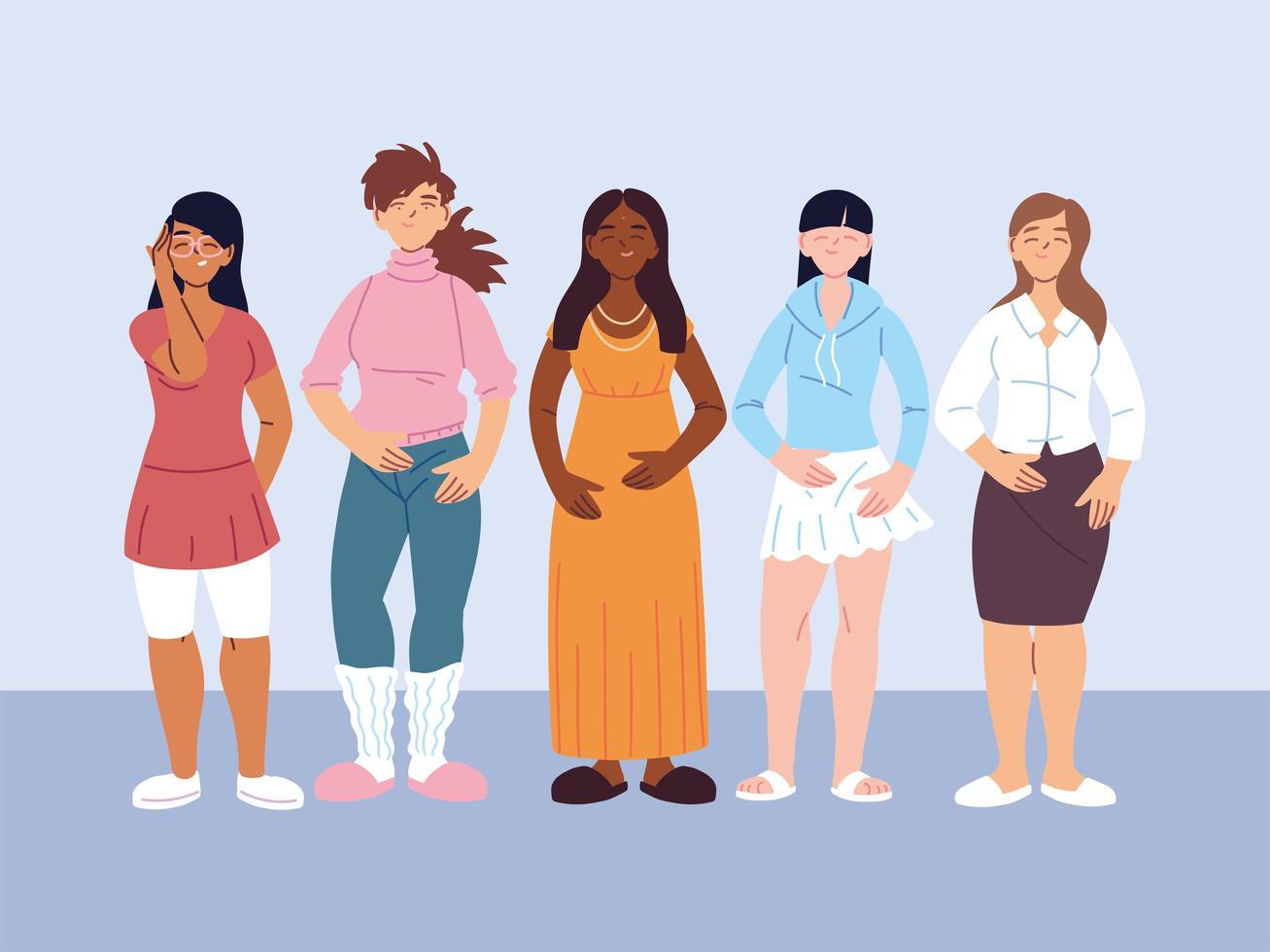 vielfältige Gruppe von Frauen in Freizeitkleidung vektor