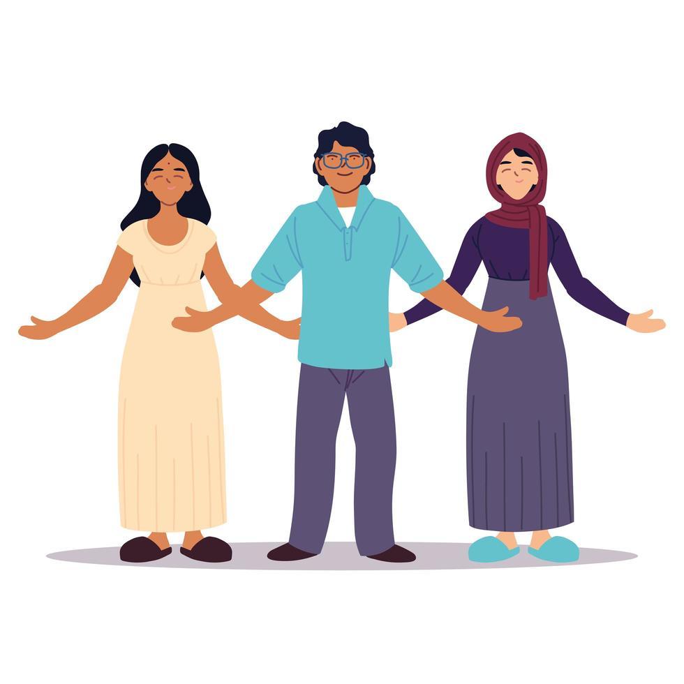 grupp människor tillsammans, mångfald eller mångkulturell vektor