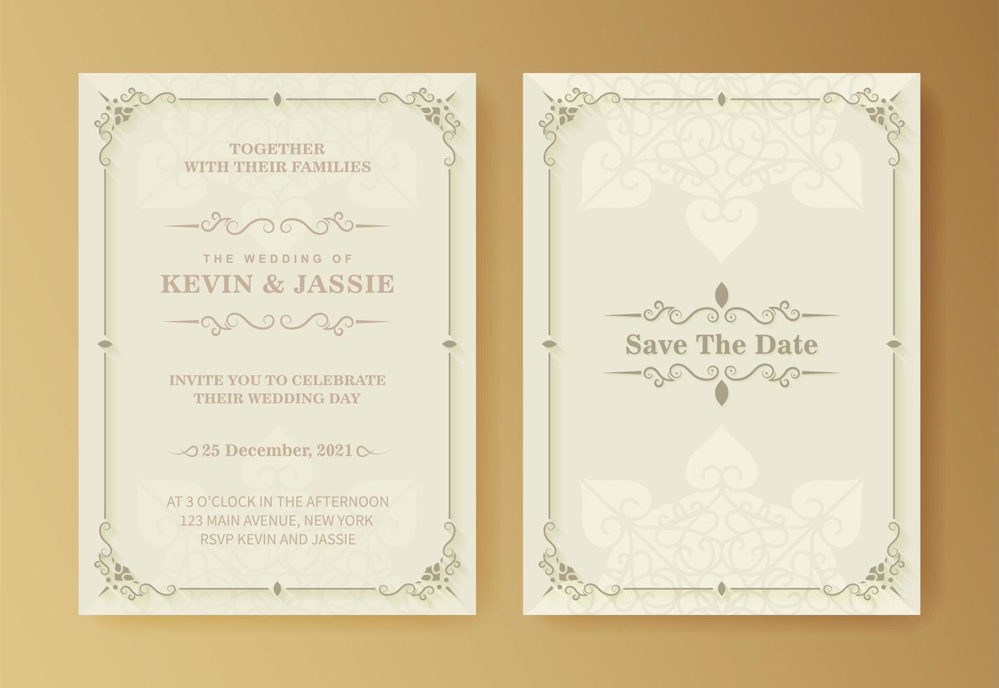 retro bröllopsinbjudan på vit bakgrund vektor