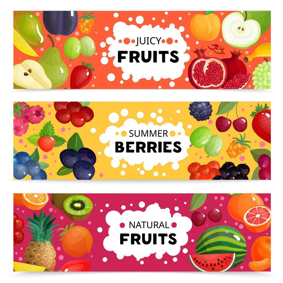 Reihe von Bannern mit natürlichen Früchten vektor