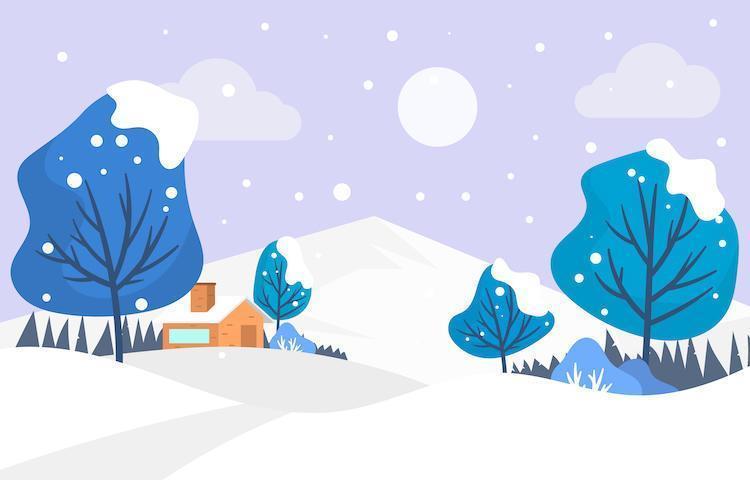 liten by under vintern vektor