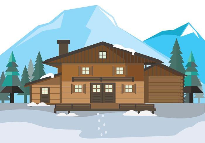 Mountain Chalet House Vector