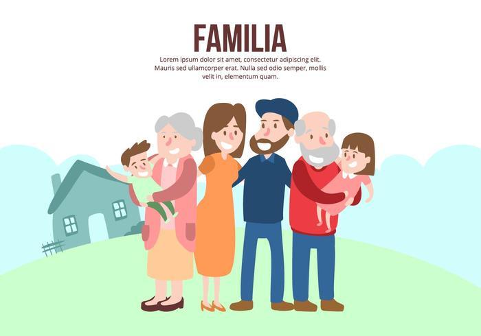 Lycklig Multigenefamiljebakgrund vektor