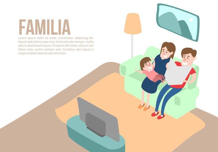 Familie zu Hause Hintergrund Vektor