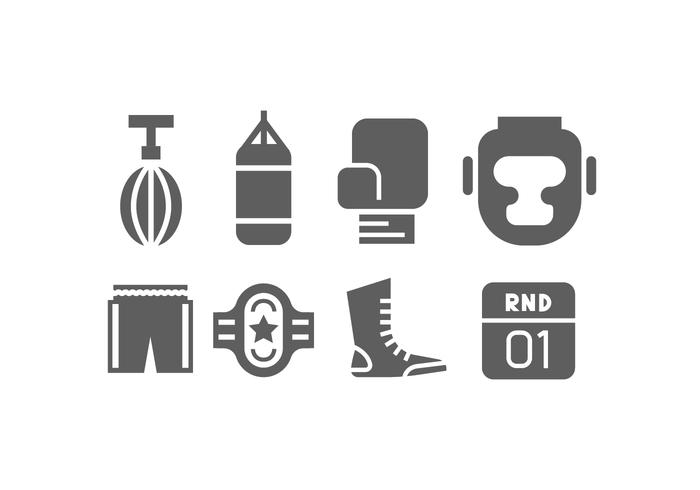 Enkla Boxning Vector Icons