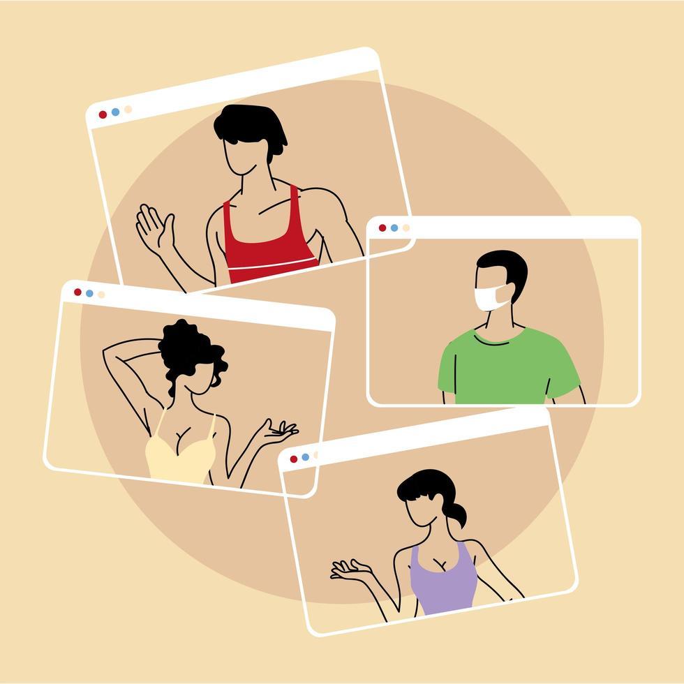 grupp människor som talar i videosamtalskonferens vektor